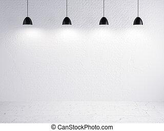 exposition, mur, lampe, brique, fond
