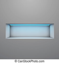 Exposition shelf illuminated with neon light vector illustration.