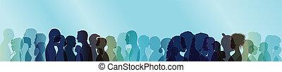 exposition, silhouette, gens, multiple, conversation, parler., blanc, entre, coloré, profils, gens., outline., dialogue, foule.