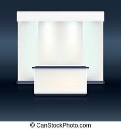 exposition, stand, à, écran, bleu, illumination.