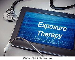 exposition, thérapie, mots, tablette, exposer