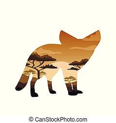 exposure., concept, léopard, chameau, double, vie sauvage, vecteur, ours, éléphant