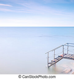 exposure., houten ladder, lang, zee, water., pijler