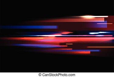 exposure., luce colorita, immagine, tempo, isolato, lungo, movimento, vettore, sfondo nero, offuscamento, piste, effetto