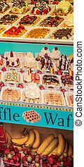 Exposure of waffles stuffed in a street of Brussels