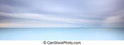 exposure., sky., doux, photographie, temps, long, 2, nuageux...