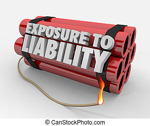Exposure to Liability Risk Mitigation Bomb Dynamite Words 3d Render Illustration