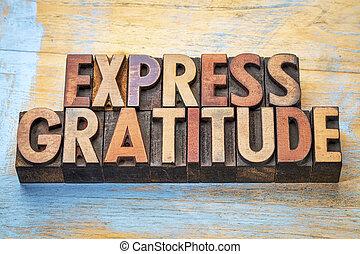 exprès, mot, gratitude, résumé, bois, type
