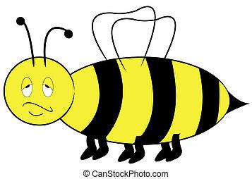 expresión, abeja, aburrido, molestado