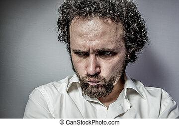 expresión, cara, triste, blanco, hombre, intenso, camisa