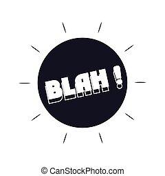 expresión, estilo, fondo blanco, argot, icono, blah, silueta, burbujas, encima