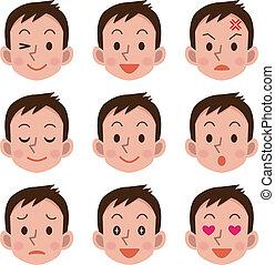 expresión, macho, facial