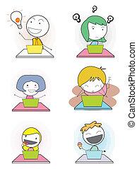 expresion, niños, cuaderno