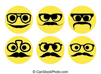 expresiones, hipster, caras