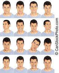 expresiones, hombre, composit, cara del adulto