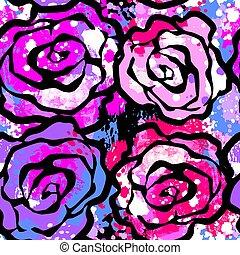 expresivo, arte, rosa, mano, tinta, flores, pattern., seamless