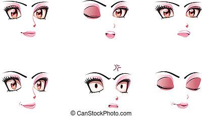 expressão facial, de, mulher