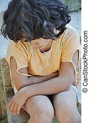 expressão, miséria, poorness, crianças