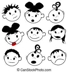 expressões, crianças