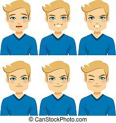 expressões, homem, loura, rosto
