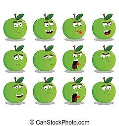 expressões, jogo, maçã, facial, caricatura
