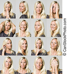 expressões, mulher, dezesseis, facial
