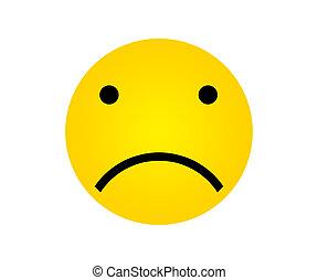 expressões, rosto, amarela, triste