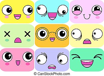 expressões, vário, caricatura, caras