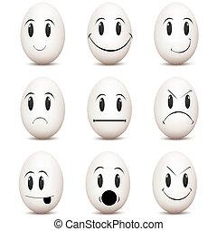 expressões, vário, facial