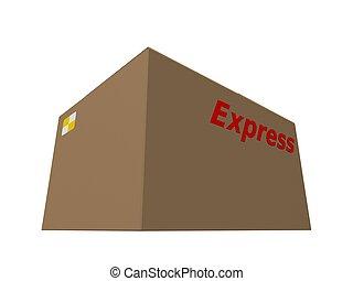 express carton - 3d rendered illustration of a brown carton