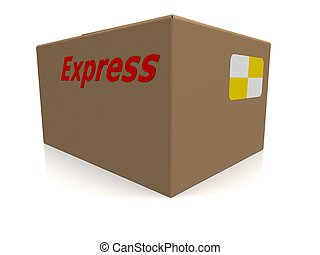 express carton - 3d rendered illustration of a brown carton