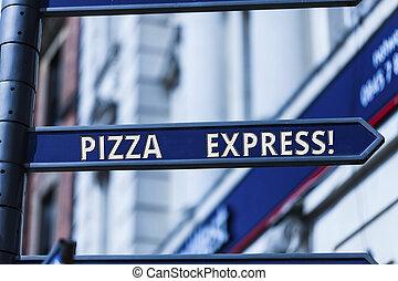 express., concept, mot, business, texte, serving., jeûne, écriture, livraison, rapide, ton, seuil, pizza