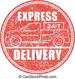 Express delivery 24/7 red rubber stamp design with...