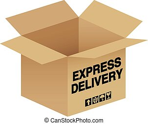 An open box with express delivery text