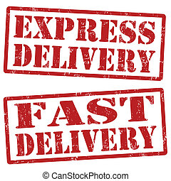 Express delivery and fast delivery stamps - Grunge express...
