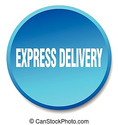 express delivery blue round flat isolated push button
