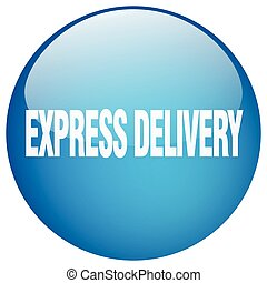 express delivery blue round gel isolated push button