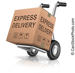 express delivery cardboard box on hand truck with text...