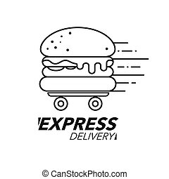 Express delivery concept. Burger or fast food service, order, fast and free shipping. line icon.