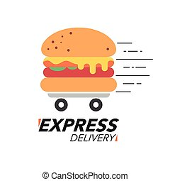 Express delivery concept. Burger or fast food service, order, fast and free shipping. Modern design.