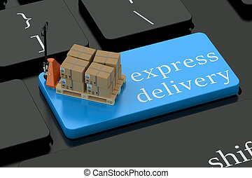 Express Delivery concept on blue keyboard button