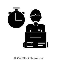 express delivery, courier service man with order box  icon, vector illustration, sign on isolated background