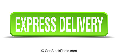 express delivery green 3d realistic square isolated button