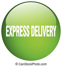 express delivery green round gel isolated push button