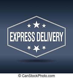 express delivery hexagonal white vintage retro style label