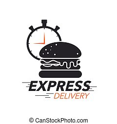 Express delivery icon concept. Burger with stop watch icon for food service, order, fast and free shipping. Modern design.