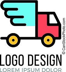 Express delivery logo design concept. Delivery truck with wings icon. Vector logo