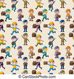 Express delivery people seamless pattern