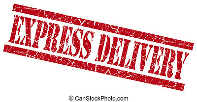 express delivery red grungy stamp isolated on white background