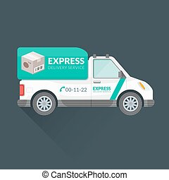 express delivery service cargo vehicle - vector white teal...